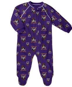 East Carolina Pirates Baby Purple Raglan Zip Up Sleeper Coverall