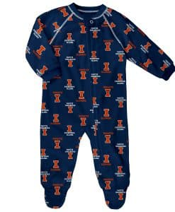 Illinois Fighting Illini Baby Navy Raglan Zip Up Sleeper Coverall