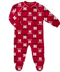 Nebraska Cornhuskers Baby Red Raglan Zip Up Sleeper Coverall