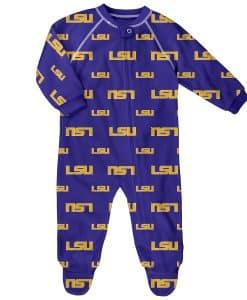 LSU Tigers Baby Purple Raglan Zip Up Sleeper Coverall