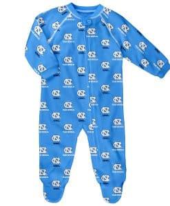North Carolina Tar Heels Baby Carolina Blue Raglan Zip Up Sleeper Coverall