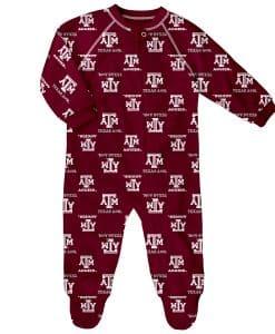 Texas A&M Aggies Baby Maroon Raglan Zip Up Sleeper Coverall