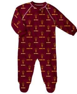 Arizona State Sun Devils Baby Burgundy Raglan Zip Up Sleeper Coverall