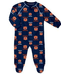 Auburn Tigers Baby Navy Raglan Zip Up Sleeper Coverall