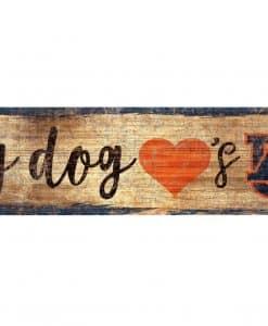 "My Dog Loves Auburn Tigers 6""x12"" Wood Bone Sign"