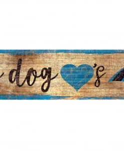 "My Dog Loves Carolina Panthers 6""x12"" Wood Bone Sign"