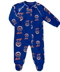 New York Mets Baby Blue Raglan Zip Up Sleeper Coverall