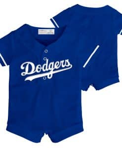Los Angeles Dodgers Baby Blue Button Up Jersey Romper Coverall