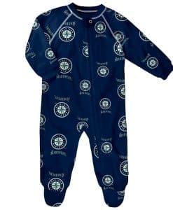 Seattle Mariners Baby Navy Raglan Zip Up Sleeper Coverall