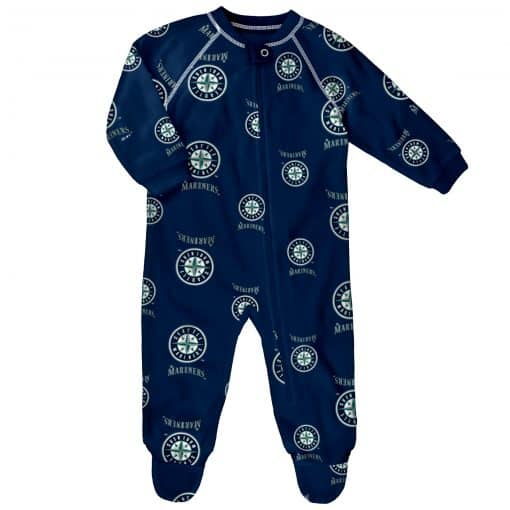 Seattle Mariners Baby Navy Raglan Zip Up Sleeper Coverall