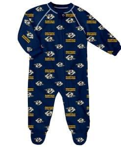 Nashville Predators Baby 0/3M Navy Raglan Zip Up Sleeper Coverall