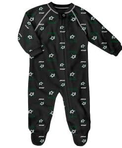 Dallas Stars Baby Black Raglan Zip Up Sleeper Coverall