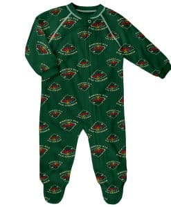 Minnesota Wild Baby Green Raglan Zip Up Sleeper Coverall