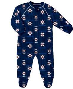 Winnipeg Jets Baby Navy Raglan Zip Up Sleeper Coverall