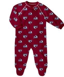Colorado Avalanche Baby Burgundy Raglan Zip Up Sleeper Coverall