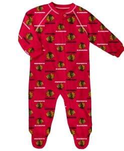 Chicago Blackhawks Baby Red Raglan Zip Up Sleeper Coverall