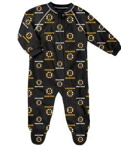 Boston Bruins Baby Black Raglan Zip Up Sleeper Coverall