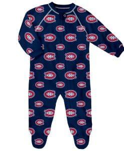 Montreal Canadiens Baby Navy Raglan Zip Up Sleeper Coverall