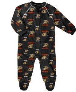 Anaheim Ducks Baby Black Raglan Zip Up Sleeper Coverall