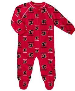 Calgary Flames Baby Red Raglan Zip Up Sleeper Coverall
