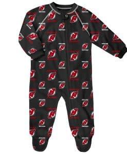 New Jersey Devils Baby Black Raglan Zip Up Sleeper Coverall