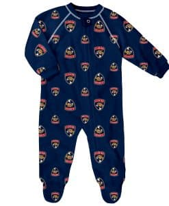 Florida Panthers Baby Navy Raglan Zip Up Sleeper Coverall
