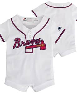 Atlanta Braves Baby 0/3M White Button Up Jersey Romper Coverall