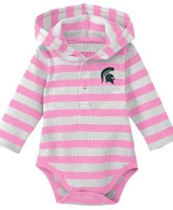 Michigan State Spartans Baby Girls Pink Hooded Onesie Creeper