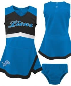 Detroit Lions Baby Girls Blue Cheer Jumper Dress