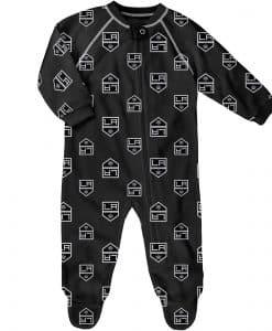 Los Angeles Kings Baby Black Raglan Zip Up Sleeper Coverall