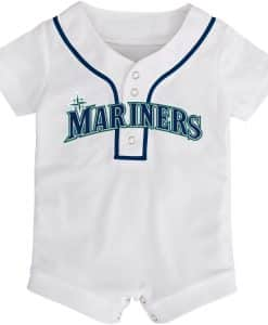 Seattle Mariners Baby White Button Up Jersey Romper Coverall