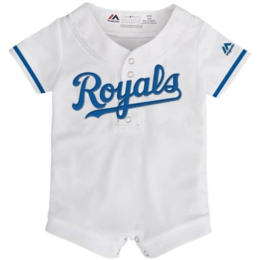 Kansas City Royals Baby White Button Up Jersey Romper Coverall