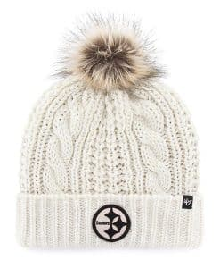 Pittsburgh Steelers Women's 47 Brand White Meeko Cuff Knit Hat
