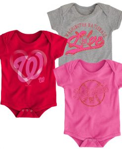 Washington Nationals Baby Girls Sparkle Pink 3 Pack Creeper