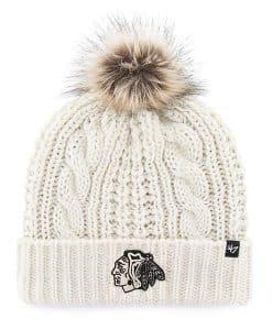 Chicago Blackhawks Women's 47 Brand White Cream Meeko Cuff Knit Hat