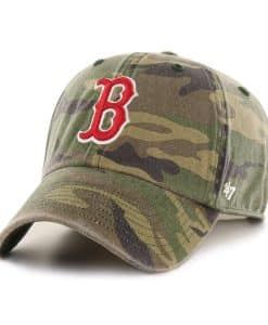 Boston Red Sox 47 Brand Green Camo Clean Up Adjustable Hat