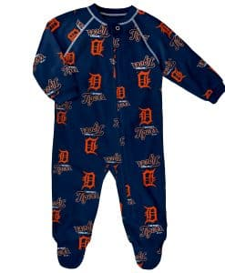 Detroit Tigers Baby Navy Raglan Zip Up Sleeper Coverall