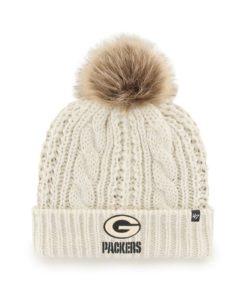 Green Bay Packers Women's 47 Brand White Meeko Cuff Knit Hat