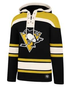 Pittsburgh Penguins Men's 47 Brand Jet Black Pullover Jersey Hoodie