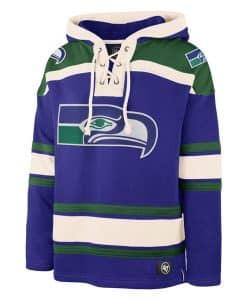 Seattle Seahawks Men's 47 Brand Blue Pullover Jersey Hoodie