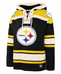Pittsburgh Steelers Men's 47 Brand Logo Black Pullover Jersey Hoodie