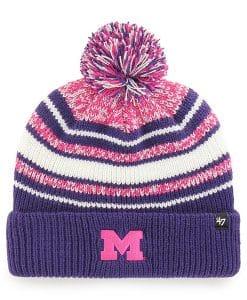 Michigan Wolverines KIDS 47 Brand Bubbler Purple Cuff Knit Hat
