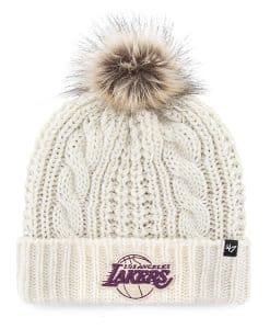 Los Angeles Lakers Women's 47 Brand White Cream Meeko Cuff Knit Hat