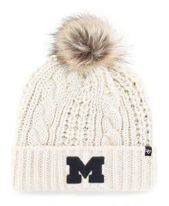 Michigan Wolverines Women's 47 Brand White Cream Meeko Cuff Knit Hat