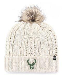 Milwaukee Bucks Women's 47 Brand White Cream Meeko Cuff Knit Hat