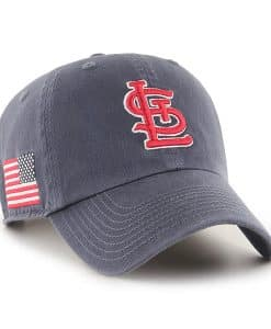 St. Louis Cardinals 47 Brand Vintage Navy USA Flag Clean Up Adjustable Hat