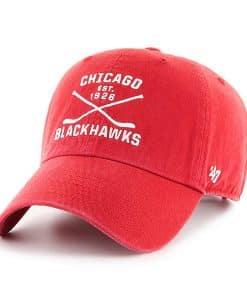 Chicago Blackhawks 47 Brand Red Cross Sticks Adjustable Hat
