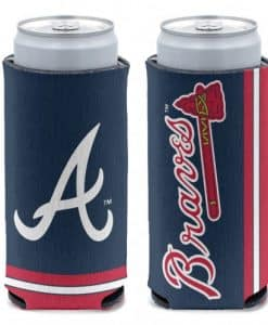 Atlanta Braves 12 oz Navy Slim Can Koozie Holder