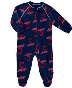 Cleveland Indians Baby Navy Raglan Zip Up Sleeper Coverall