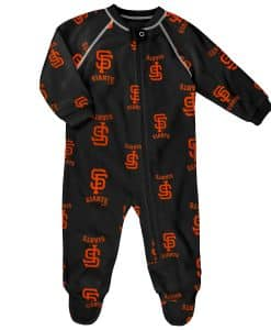 San Francisco Giants Baby Black Raglan Zip Up Sleeper Coverall